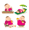 cute fat boy eating action vector image