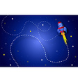 Rocket in space background vector image
