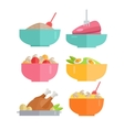 Set of Traditional Dishes in Flat Design vector image