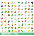 100 sri lanka icons set isometric 3d style vector image vector image