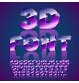 3d violet font vector image vector image