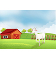 A goat in the farm with a wooden house at the back vector image vector image