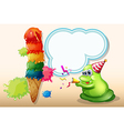 A green monster celebrating near the big icecream vector image vector image