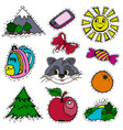 a set of fashion labels badges mountains sun bow vector image