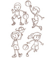 A simple sketch of the people playing basketball vector image vector image