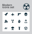army icons set with tank fighter gun and other vector image vector image