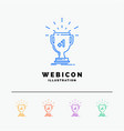 award trophy win prize first 5 color line web vector image