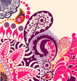 beauty flowers and paisley pattern vector image vector image