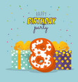 birthday card with candle number eight vector image vector image