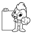 black and white chicken mascot has been directed vector image