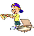 boy eating pizza vector image vector image