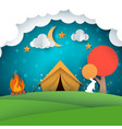 camping tent paper landscape vector image vector image