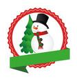 circular emblem with ribbon and snowman and vector image vector image