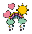 color rainbow clouds raining with hearts and sun vector image