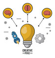 colorful poster of creative mind with the light vector image vector image
