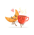 comic characters hugging croissant and cup of vector image