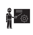 construction manager black concept icon vector image vector image