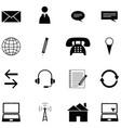 contact icon set vector image vector image