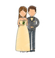cute couple just married with flowers bouquet vector image vector image