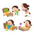 Cute girl crying cartoon many action vector image