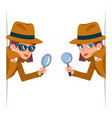 detective female snoop magnifying glass tec vector image vector image