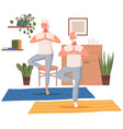 elderly people doing yoga exercises in different vector image