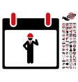 Engineer Calendar Day Flat Icon With Bonus vector image vector image
