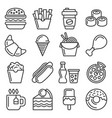 fastfood and food court icons set line style vector image vector image