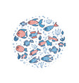 fish collection isolated in doodle style vector image