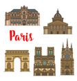 french travel landmark icon of paris tourist sight vector image vector image