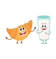 funny smiling glass of milk and croissant vector image vector image