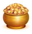 gold pot full of gold coins vector image vector image