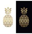 golden geometric pineapple logo design vector image vector image