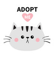 gray cat round face silhouette adopt me pink vector image vector image