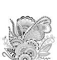 Hand-drawn cute abstract floral elements in mehndi vector image vector image