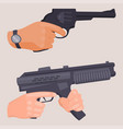hand firing with gun protection ammunition crime vector image vector image