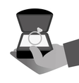 Hand with engagement ring vector image
