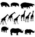 hippo giraffe rhino vector image vector image