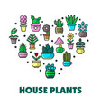 house plants promo poster with potted flowers in vector image
