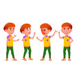 little boy poses set primary school child vector image vector image
