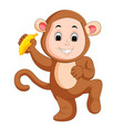 little funny baby wearing monkey suit vector image vector image