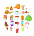 meal icons set cartoon style vector image vector image