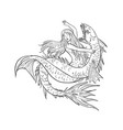 mermaid fighting a sea serpent drawing black and vector image