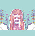 mermaid woman with clouds and branches leaves vector image vector image