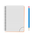 notebook with a blue pencil vector image vector image