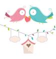 Of Two Cute Birds In Love Wedd vector image vector image