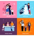 Parenthood 4 flat icons square set vector image