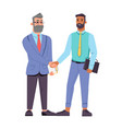 people different age shake hands businessmen vector image