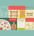 placemat for pizzeria and fast food vector image vector image