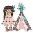 pocahontas wigwam indian princess home illu vector image vector image